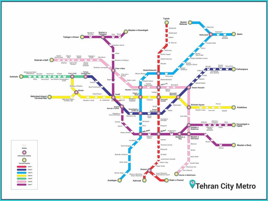 Tehran Subway Map.How Do I Get Tehran S Metro Map Of 2019 Iranroute Blog